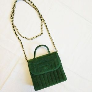 Lord & Taylor hunter green velour purse